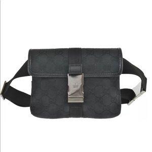 Authentic Gucci waist bag fanny pack black canvas